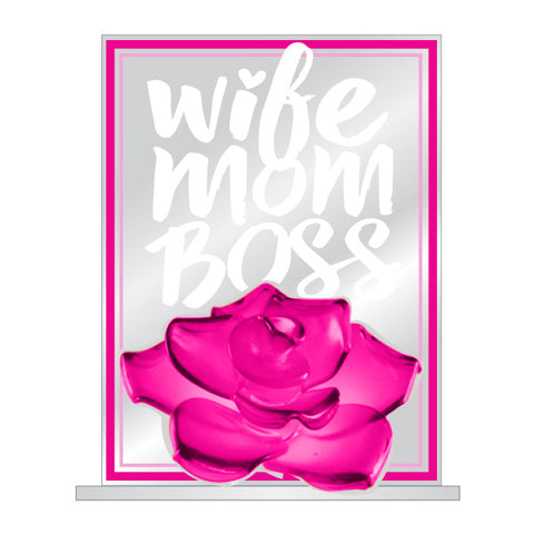 Wife Mom Boss Small Glass Figurine