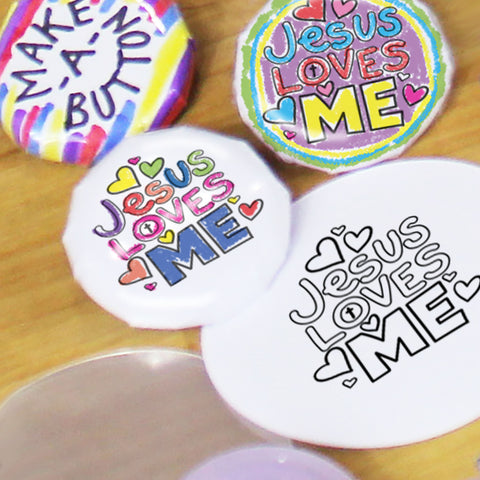 """Jesus Loves Me"" Free DIY Button Maker Downloadable Template"