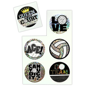 Sparkle Volleyball Stickers