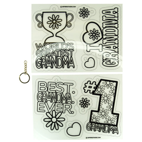I Heart Grandma DIY Shrink Film Keychain Kit