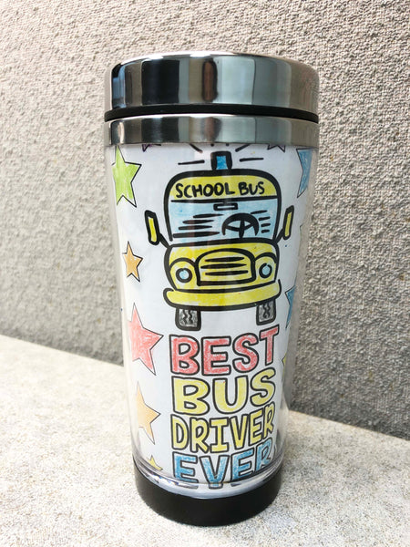 Bus Driver Gift DIY Travel Mug Insert Downloadable Template