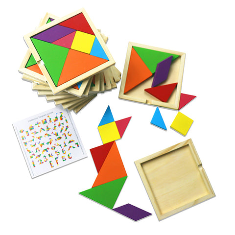 Wooden Tangram 8 Piece Puzzle