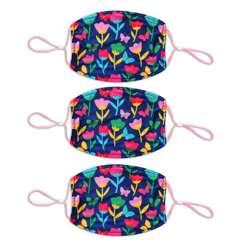 Adult Printed Spring Mask 3 Pack - Blue Floral