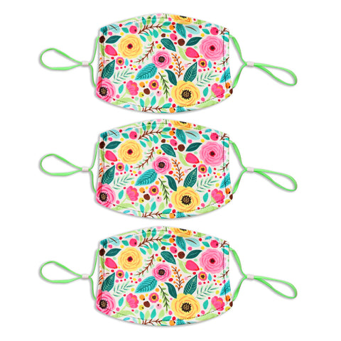 Adult Printed Spring Mask 3 Pack - White Floral