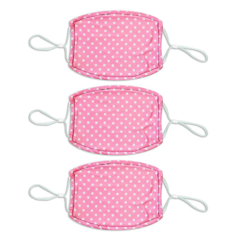 Adult Printed Spring Mask 3 Pack - Pink/White Polka Dot