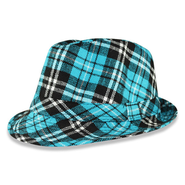 Blue Plaid Fashion Fedora