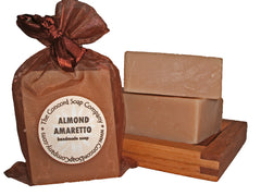 Handmade Almond Amaretto Soap in almond brown organza bag