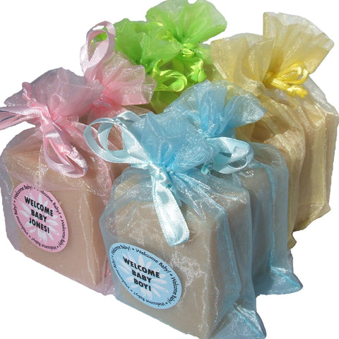 Handmade Baby Powder Soap in choice of pink, blue, green or yellow organza bag