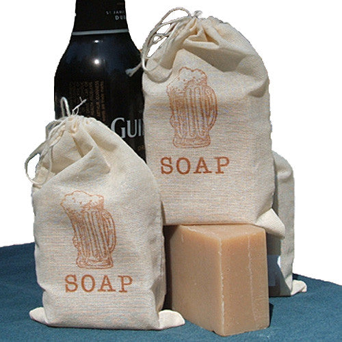Handmade Brunette Soap made with Guinness Beer in muslin bag