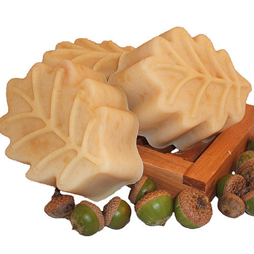 Handmade Bayberry Spice Soap in the shape of an oak tree leaf