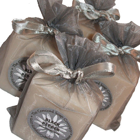 Handmade Black Pepper Soap in silver grey organza bag