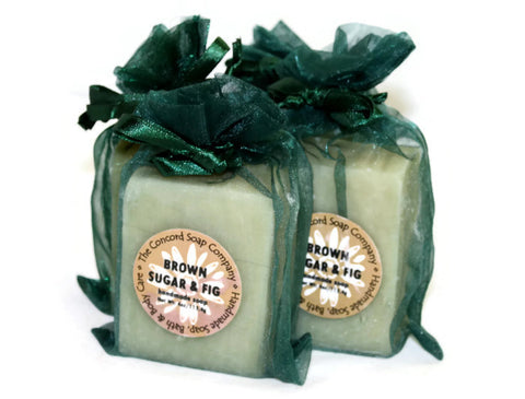 Handmade Brown Sugar and Fig Soap in hunter green organza bag
