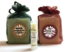 Holiday Gift Box Set - 2 Bars of Handmade Soap & Lip Balm