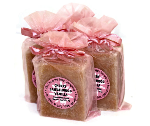 Handmade Cherry Sandalwood Vanilla Soap in mauve organza bag
