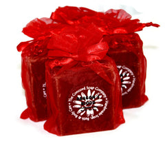 Handmade Dragon's Blood Soap in red organza bag