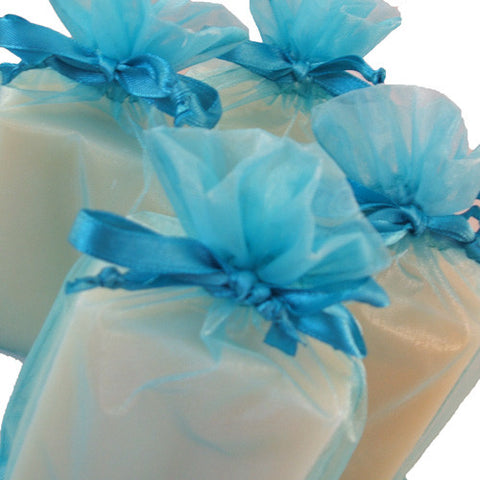 Handmade Eucalyptus and Spearmint Soap in turquoise organza bag