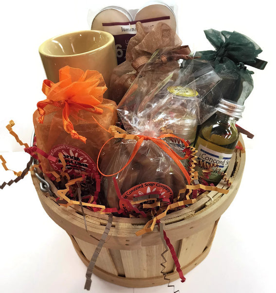 Medium Fall Gift Basket with Handmade Soap, Lotion Stick, Oil Burner, Tealights and Fragrance Oil