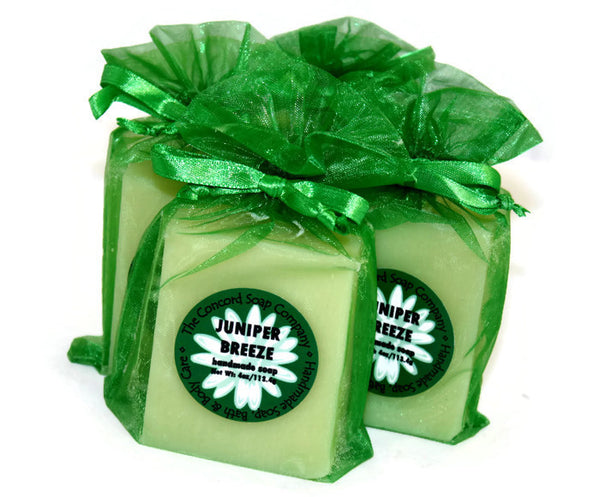 Handmade Juniper Breeze Soap in green organza bag