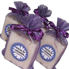 Handmade Fields of Lavender Soap in purple organza bag