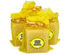 Handmade Lemon Citrus Soap in yellow organza bag