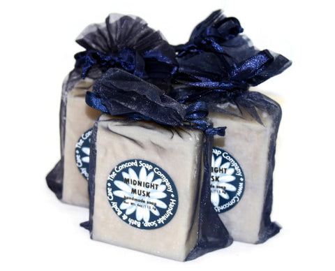 Handmade Midnight Musk Soap in navy blue organza bag