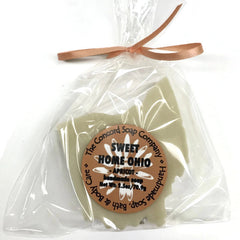 Handmade Sweet Home Ohio Soap in the shape of the state of Ohio in cello bag