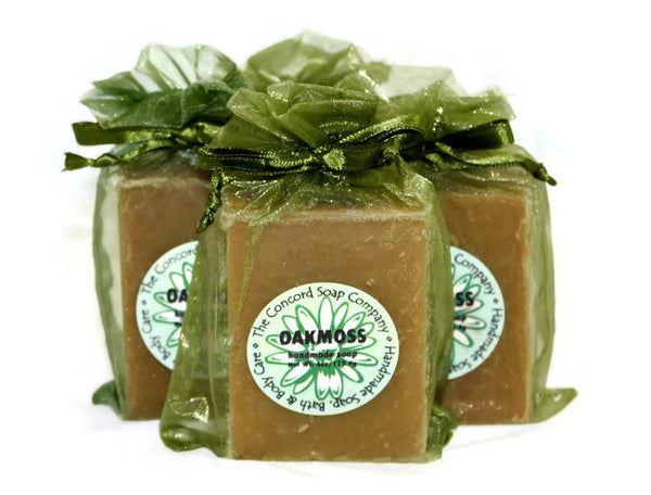 Handmade Oakmoss Soap in an olive green organza bag