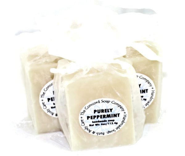 Handmade Purely Peppermint Soap in white organza bag