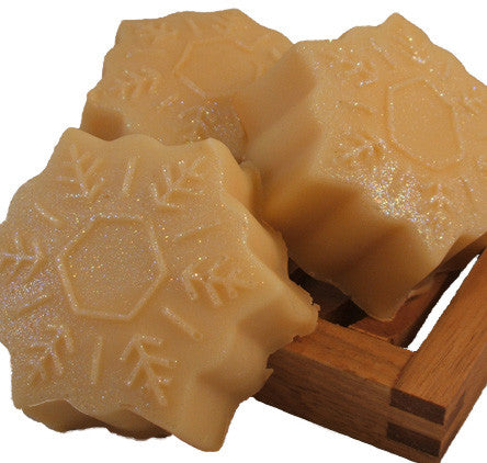 Handmade Snowflake Soap in shape of a snowflake with glitter