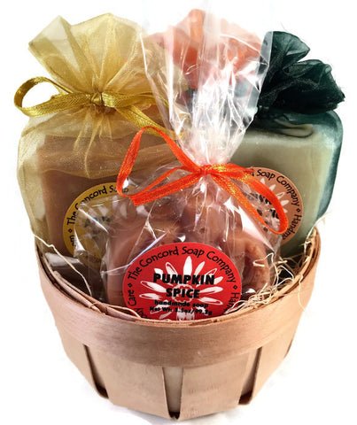Fall Gift Basket with 3 Handmade Soap: pumpkin spice, oatmeal milk & honey, apple jack -and- 2 Lip Balm: vanilla, rootbeer