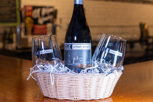 Red Wine Gift Basket with Wine Glasses