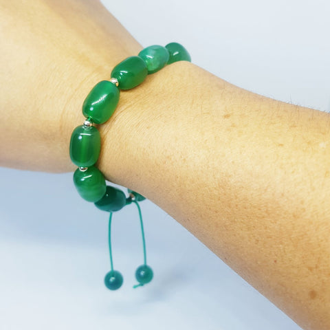 All Green Adjustable Agate Bracelet - MCA Design by Maria