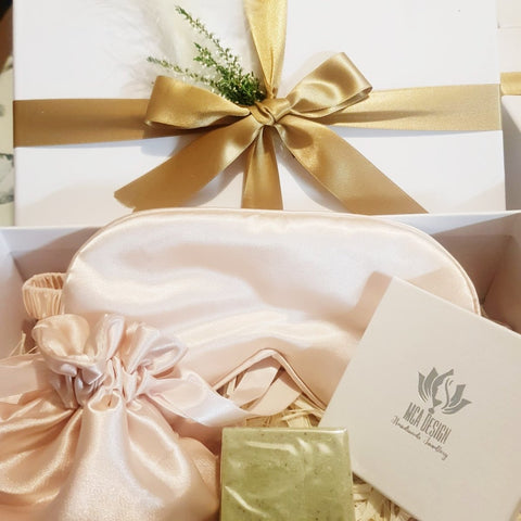Beautiful Self-Care Gift Box with Gemstone Bracelet & Peach Coloured Accessories for her
