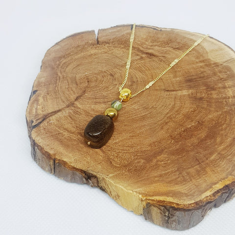 Delicate Tiger Eye, Hematite and Jasper Necklace - MCA Design by Maria