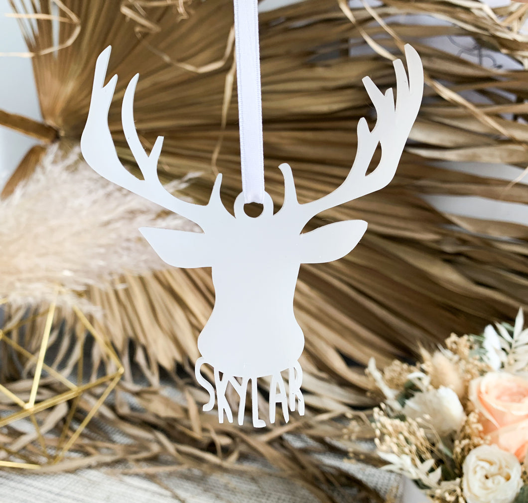Deer Silhouette Ornament - Custom Name