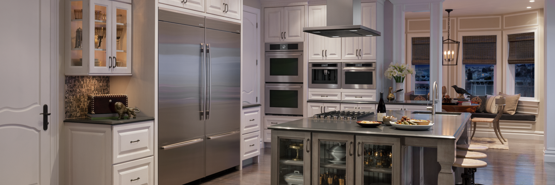 high-end stainless steel kitchen wide shot