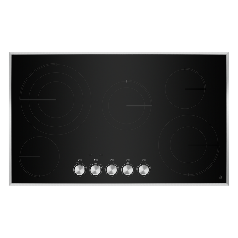 "36"" Lustre Stainless Radiant Glass Cooktop with Halo-Effect Knobs JEC3536HS"