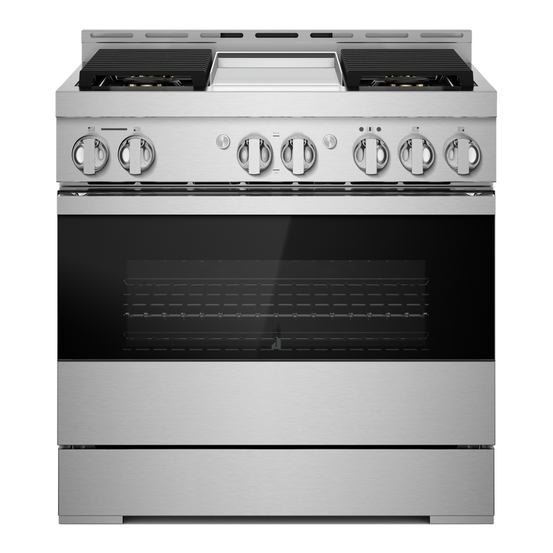 "36"" NOIR™ Gas Professional-Style Range with Chrome-Infused Griddle JGRP536HM"