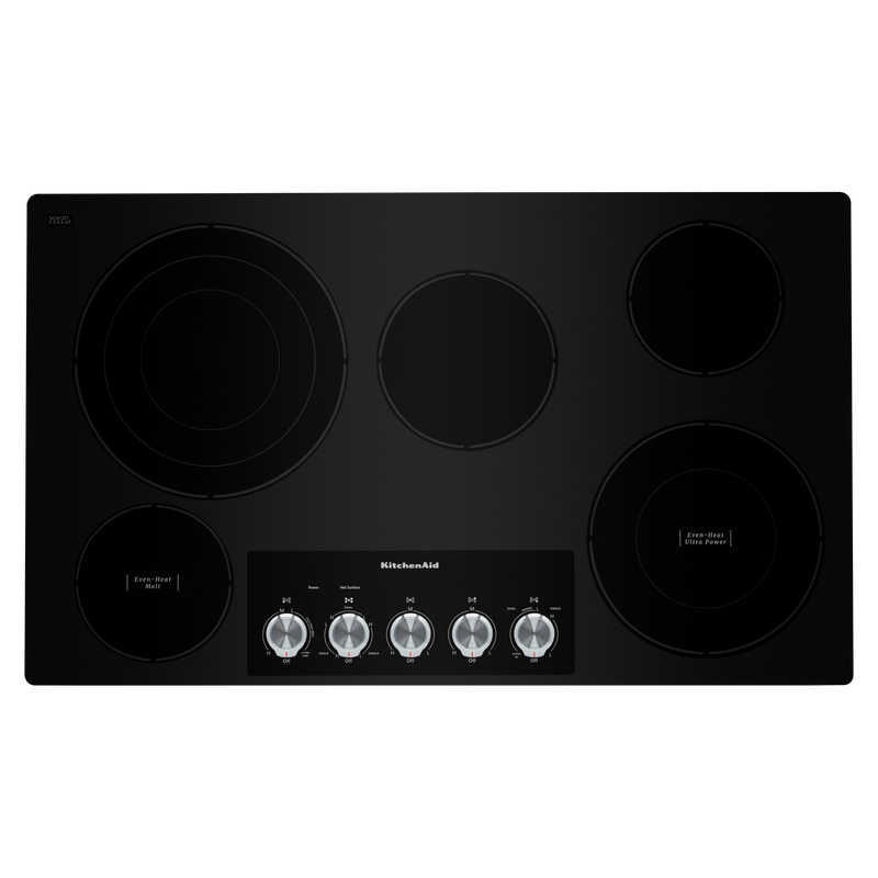 "36"" Electric Cooktop with 5 Elements and Knob Controls KCES556HSS"