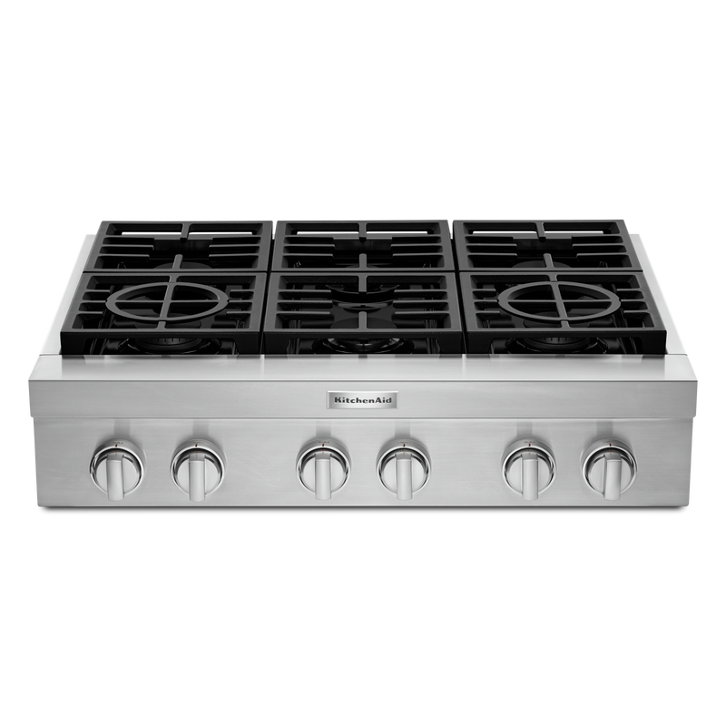 KitchenAid® 36'' 6-Burner Commercial-Style Gas Rangetop KCGC506JSS