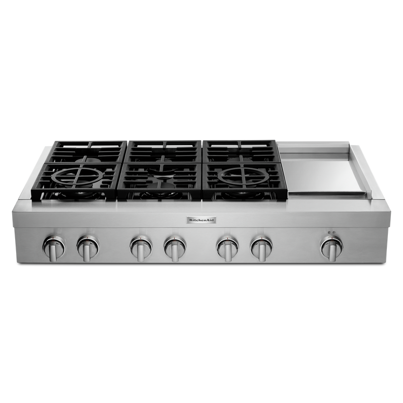 KitchenAid® 48'' 6-Burner Commercial-Style Gas Rangetop with Griddle KCGC558JSS