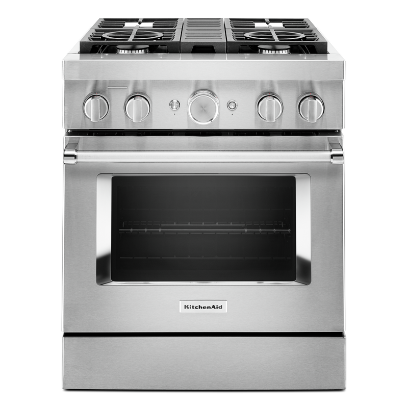 KitchenAid® 30'' Smart Commercial-Style Dual Fuel Range with 4 Burners KFDC500JSC