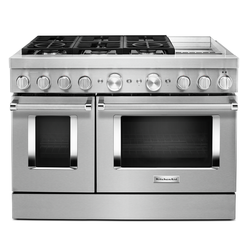 KitchenAid® 48'' Smart Commercial-Style Dual Fuel Range with Griddle KFDC558JIB