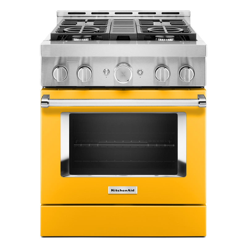 KitchenAid® 30'' Smart Commercial-Style Gas Range with 4 Burners KFGC500JAV