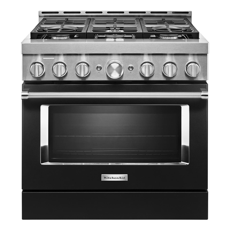 KitchenAid® 36'' Smart Commercial-Style Gas Range with 6 Burners KFGC506JAV