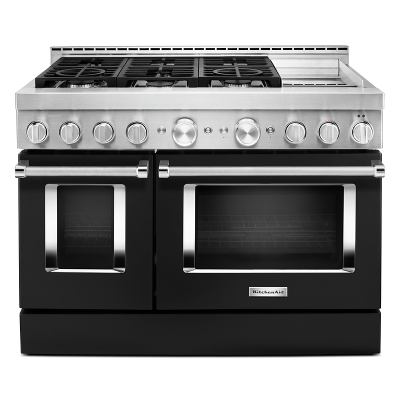 KitchenAid® 48'' Smart Commercial-Style Gas Range with Griddle KFGC558JMB