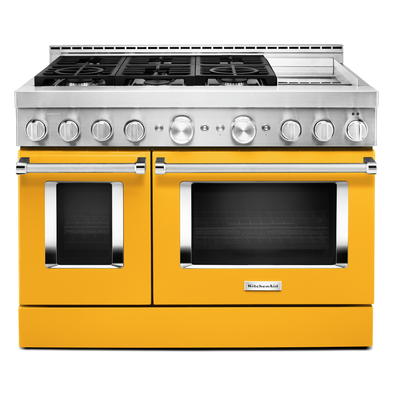 KitchenAid® 48'' Smart Commercial-Style Gas Range with Griddle KFGC558JSC