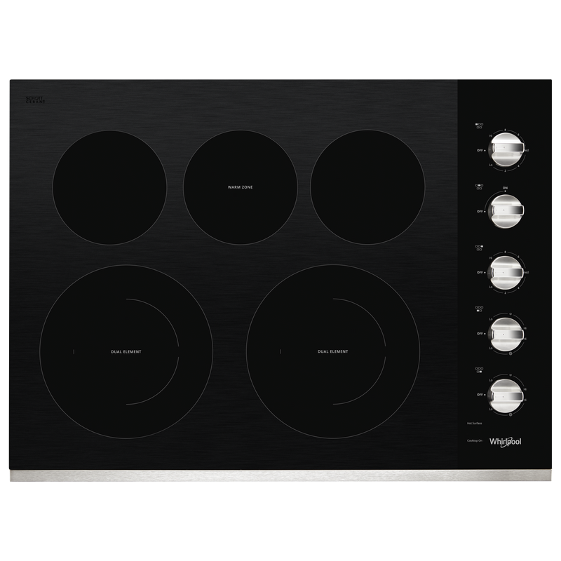 30-inch Electric Ceramic Glass Cooktop with Two Dual Radiant Elements WCE77US0HB