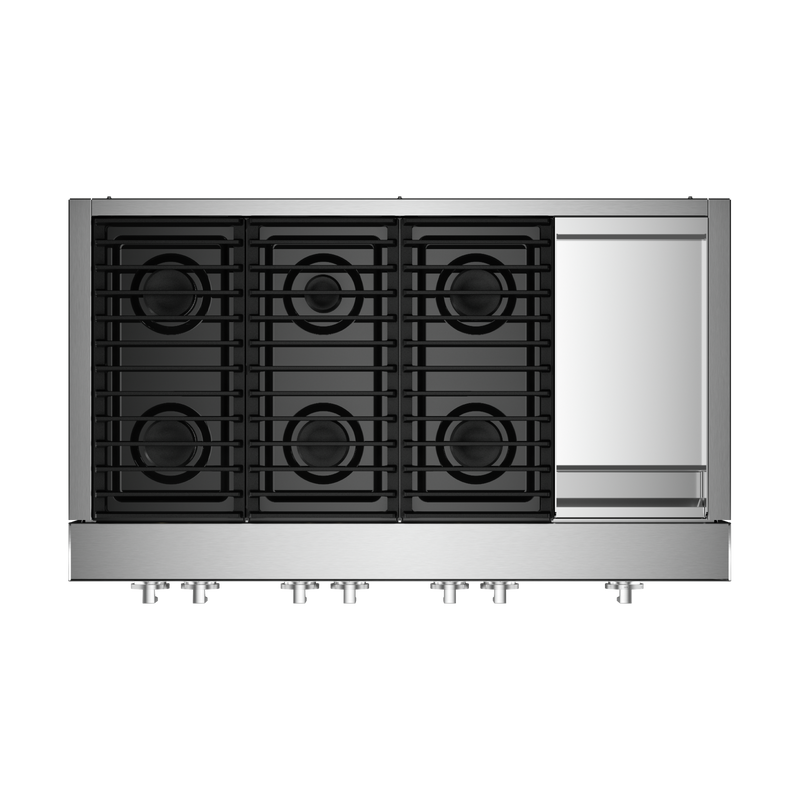 "48"" NOIR™ Gas Professional-Style Rangetop with Chrome-Infused Griddle JGCP548HM"