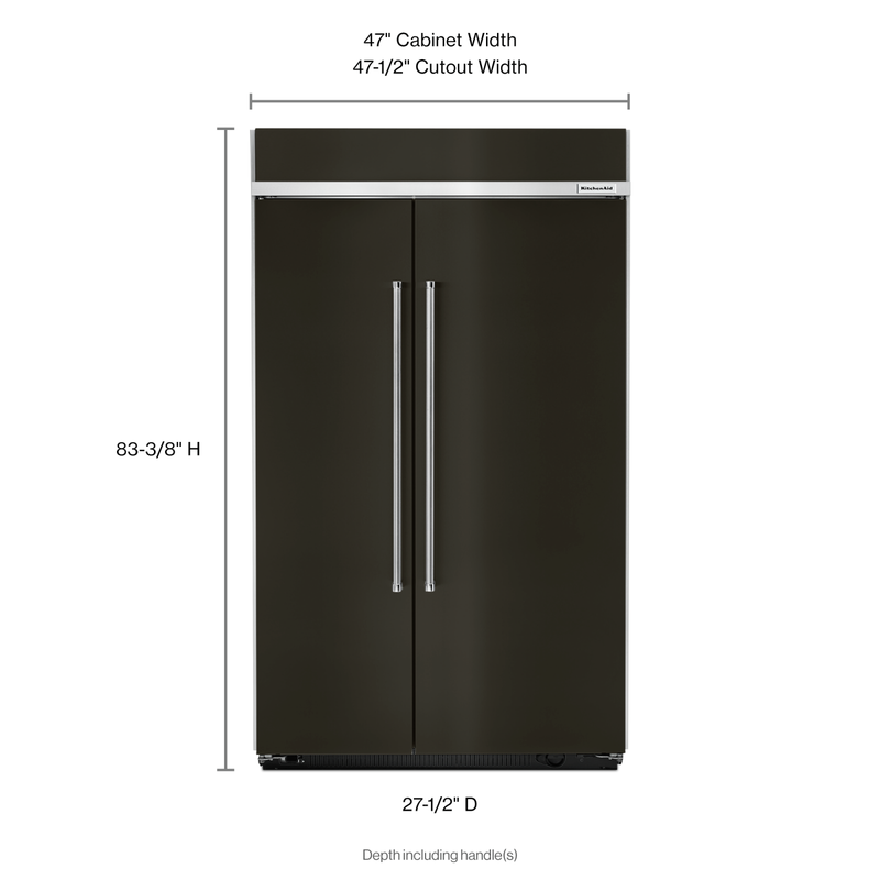 30.0 cu. ft 48-Inch Width Built-In Side by Side Refrigerator with PrintShield™ Finish KBSN608EBS
